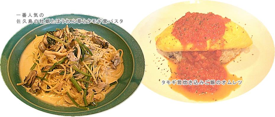 一番人気の佐久島の牡蛎とほうれん草とタモギ茸パスタ、タモギ茸炊き込みご飯のオムレツ